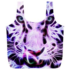 Fractal Wire White Tiger Full Print Recycle Bags (L)