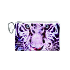 Fractal Wire White Tiger Canvas Cosmetic Bag (s)