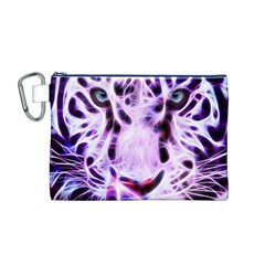 Fractal Wire White Tiger Canvas Cosmetic Bag (m)