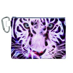 Fractal Wire White Tiger Canvas Cosmetic Bag (XL)