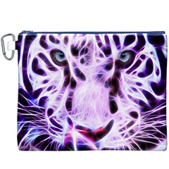 Fractal Wire White Tiger Canvas Cosmetic Bag (XXXL)