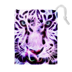 Fractal Wire White Tiger Drawstring Pouches (extra Large)
