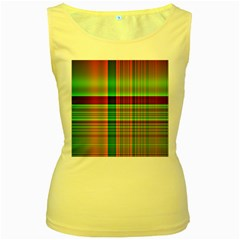 Multicoloured Background Pattern Women s Yellow Tank Top