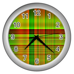 Multicoloured Background Pattern Wall Clocks (silver)