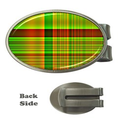 Multicoloured Background Pattern Money Clips (Oval)
