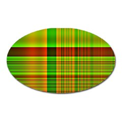 Multicoloured Background Pattern Oval Magnet