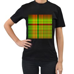 Multicoloured Background Pattern Women s T Shirt (black) (two Sided)
