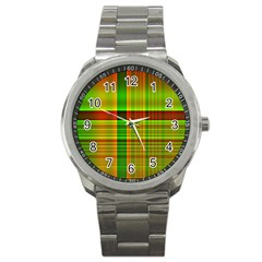 Multicoloured Background Pattern Sport Metal Watch