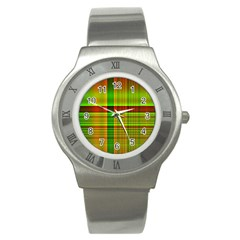 Multicoloured Background Pattern Stainless Steel Watch