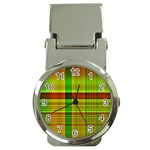 Multicoloured Background Pattern Money Clip Watches Front