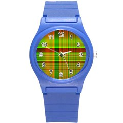 Multicoloured Background Pattern Round Plastic Sport Watch (S)