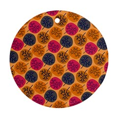Colorful Trees Background Pattern Ornament (round)