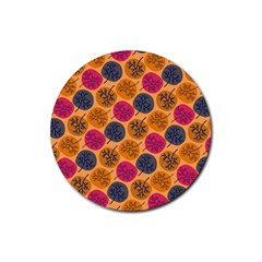 Colorful Trees Background Pattern Rubber Round Coaster (4 pack)
