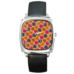 Colorful Trees Background Pattern Square Metal Watch