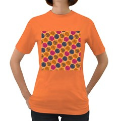 Colorful Trees Background Pattern Women s Dark T-Shirt