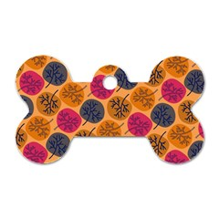 Colorful Trees Background Pattern Dog Tag Bone (one Side)