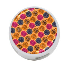 Colorful Trees Background Pattern 4 Port Usb Hub (one Side)