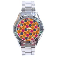 Colorful Trees Background Pattern Stainless Steel Analogue Watch