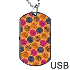 Colorful Trees Background Pattern Dog Tag USB Flash (One Side)