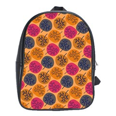 Colorful Trees Background Pattern School Bags (XL)