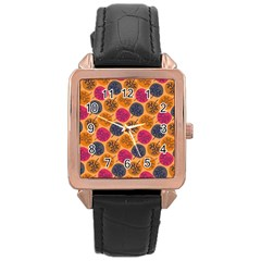 Colorful Trees Background Pattern Rose Gold Leather Watch