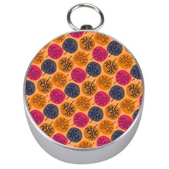 Colorful Trees Background Pattern Silver Compasses
