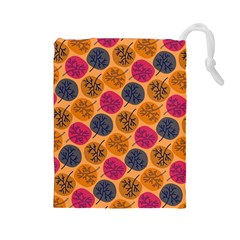Colorful Trees Background Pattern Drawstring Pouches (Large)