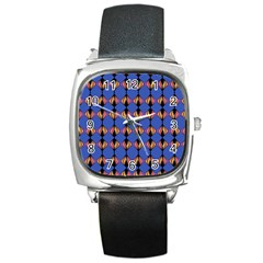 Abstract Lines Seamless Pattern Square Metal Watch