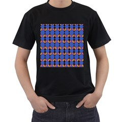 Abstract Lines Seamless Pattern Men s T-Shirt (Black) (Two Sided)