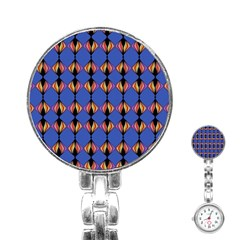 Abstract Lines Seamless Pattern Stainless Steel Nurses Watch