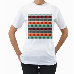 Bricks Abstract Seamless Pattern Women s T Shirt (white) (two Sided)