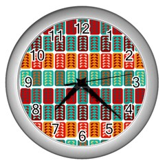 Bricks Abstract Seamless Pattern Wall Clocks (silver)