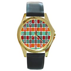 Bricks Abstract Seamless Pattern Round Gold Metal Watch