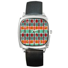 Bricks Abstract Seamless Pattern Square Metal Watch