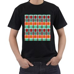Bricks Abstract Seamless Pattern Men s T-Shirt (Black) (Two Sided)