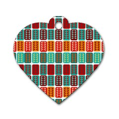 Bricks Abstract Seamless Pattern Dog Tag Heart (Two Sides)