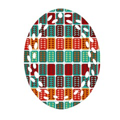 Bricks Abstract Seamless Pattern Oval Filigree Ornament (Two Sides)