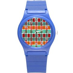 Bricks Abstract Seamless Pattern Round Plastic Sport Watch (S)
