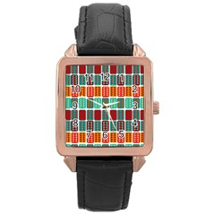 Bricks Abstract Seamless Pattern Rose Gold Leather Watch