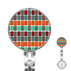 Bricks Abstract Seamless Pattern Stainless Steel Nurses Watch