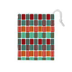 Bricks Abstract Seamless Pattern Drawstring Pouches (Medium)