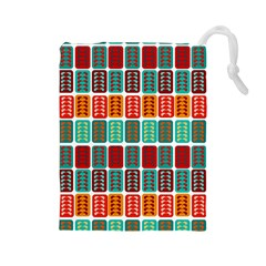 Bricks Abstract Seamless Pattern Drawstring Pouches (Large)