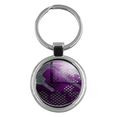 Evil Moon Dark Background With An Abstract Moonlit Landscape Key Chains (round)