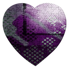 Evil Moon Dark Background With An Abstract Moonlit Landscape Jigsaw Puzzle (Heart)