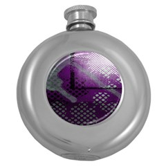 Evil Moon Dark Background With An Abstract Moonlit Landscape Round Hip Flask (5 oz)