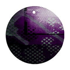 Evil Moon Dark Background With An Abstract Moonlit Landscape Round Ornament (two Sides)