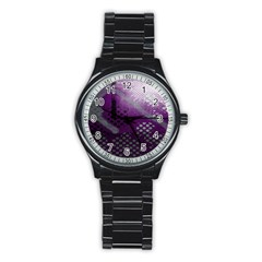 Evil Moon Dark Background With An Abstract Moonlit Landscape Stainless Steel Round Watch