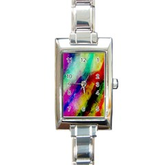 Colorful Abstract Paint Splats Background Rectangle Italian Charm Watch