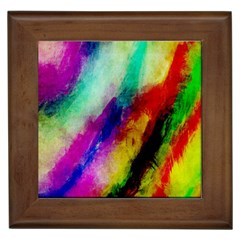 Colorful Abstract Paint Splats Background Framed Tiles