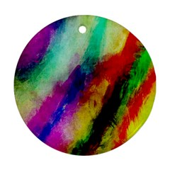 Colorful Abstract Paint Splats Background Ornament (Round)